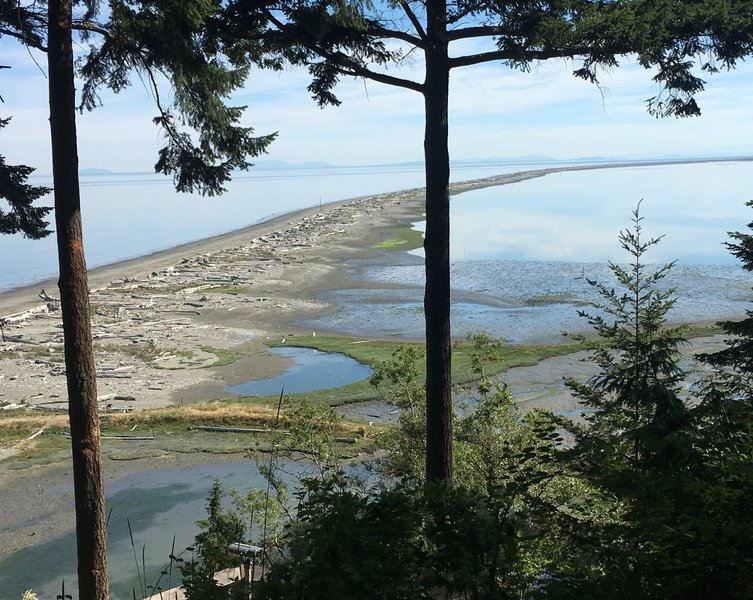 The Dungeness Spit extends far into the Strait of Juan De Fuca.