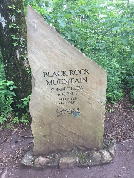 Black Rock Mountain summit is marked by this sign.