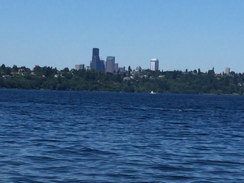 It's easy to play on the north shore while enjoying the view of Seattle.