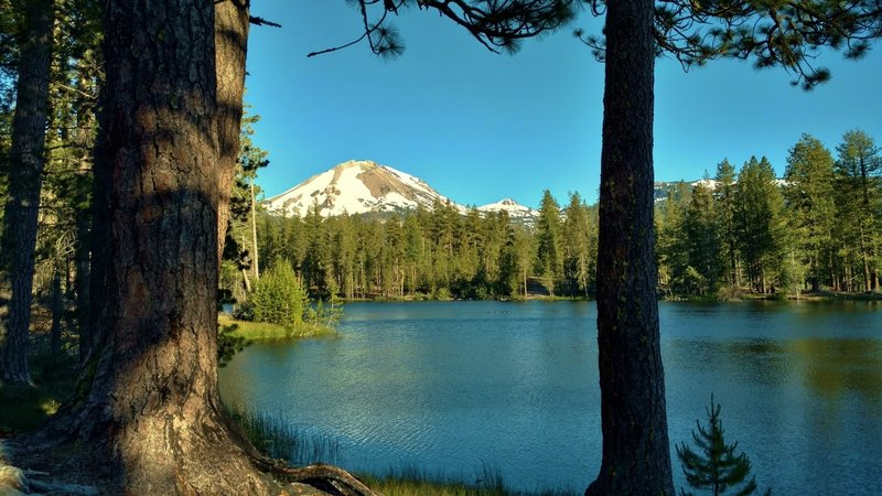 Enjoy the view looking across Reflection Lake to snow-covered Mt. Lassen and nearby peaks.