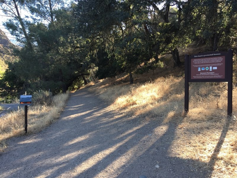 The trailhead is marked by this large sign.
