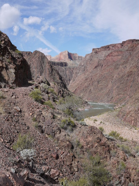Enjoy beautiful views along this section of the Bright Angel Trail along the Colorado River.