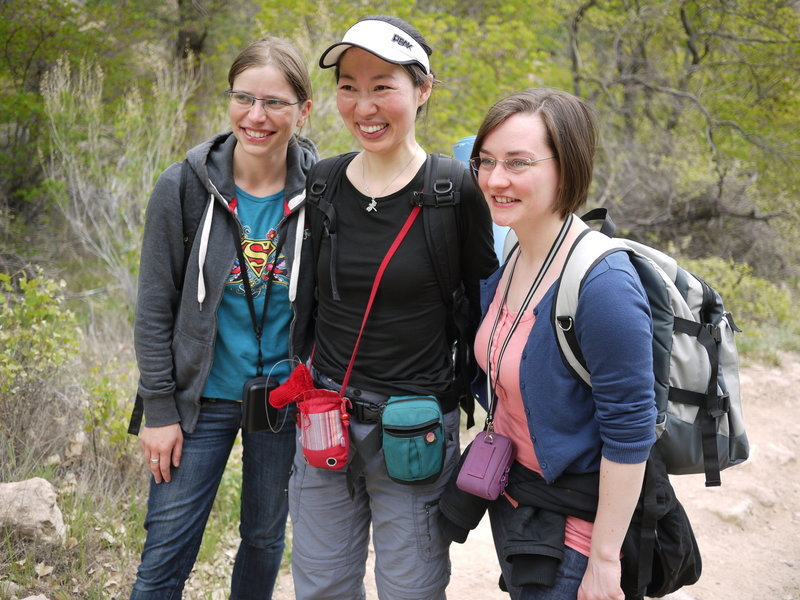 Three hikers explore the area near Indian Garden Campground.
