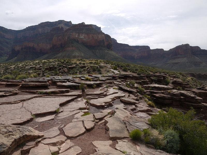 Broken rock surfaces Plateau Point.