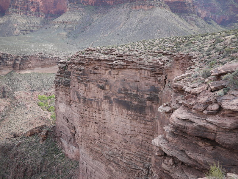 A rock face at Plateau Point hides most of the Bright Angel Trail.