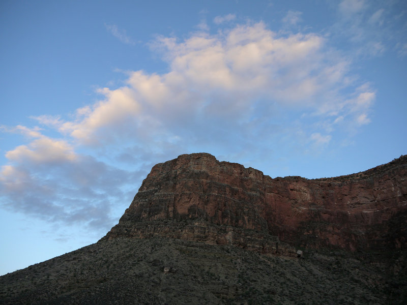 Clouds frame the end of a ridge extending north from Yavapai Point.
