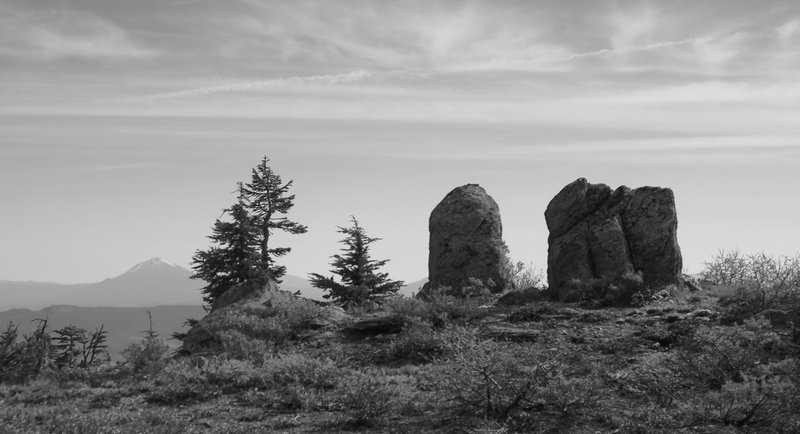 Split Rock: Is this the namesake? (Mt. McLoughlin stands in the background.)