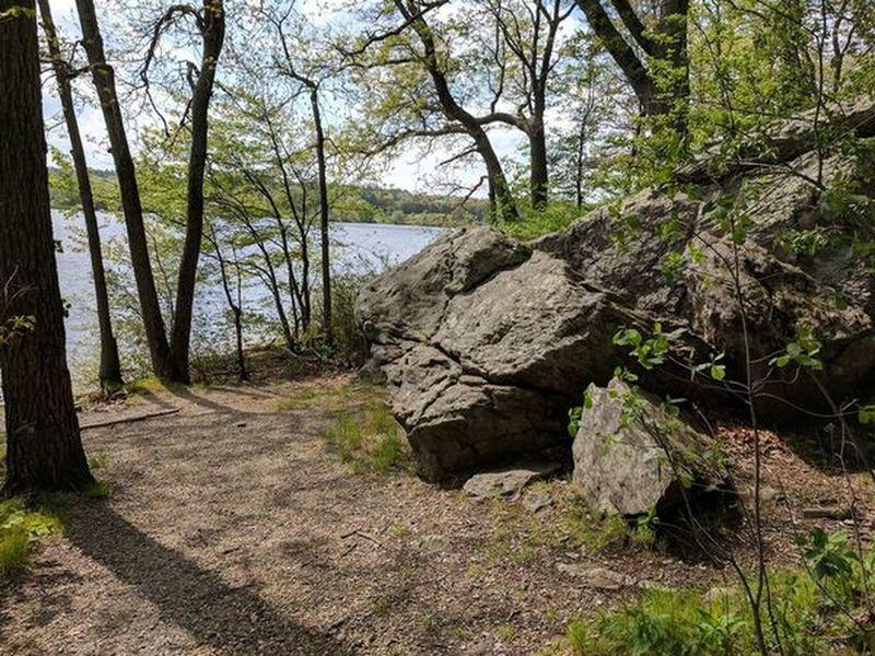 The Shoreline Trail follows the perimeter of West Thompson Lake.