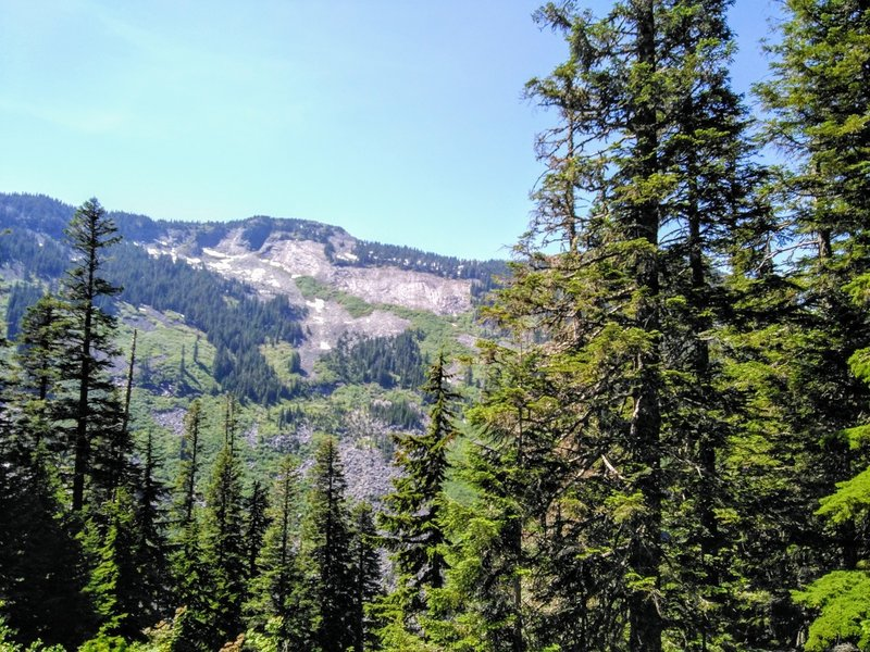 In high summer, there's hardly any snow in the mountains around the Annette Lake Trail.