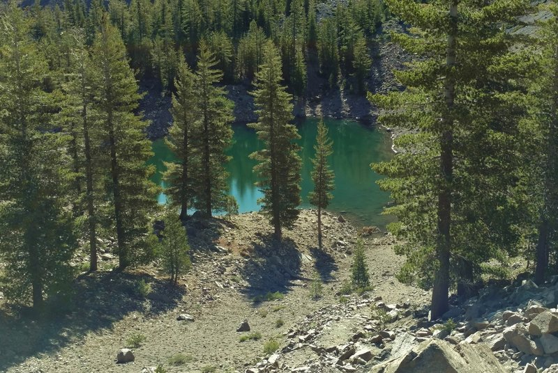 This view is looking down at Crags Lake from the rim of Chaos Crater –one of six volcanoes at Chaos Crags.