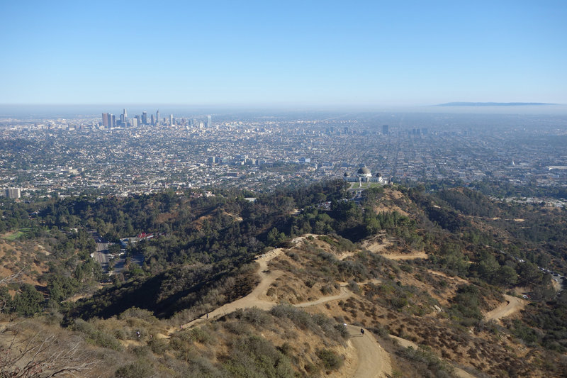 Griffith Observatory and downtown Los Angeles grace the view on a clear day.