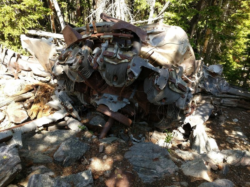 A Wright Cyclone R1820 Radial Engine (or what's left anyway) stands in remembrance of the flight crew who perished on this rocky mountainside.