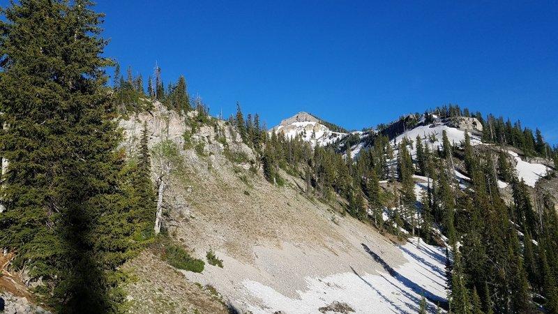 The approach to Mt. Baird traverses rugged terrain.