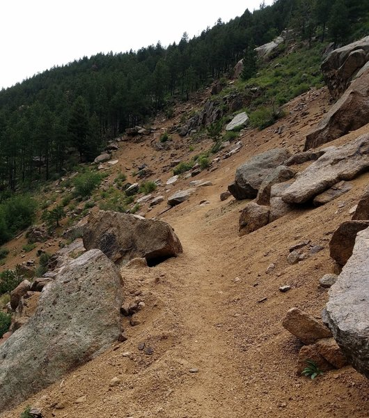 Sure footing is needed while walking through the skree of the boulder field.