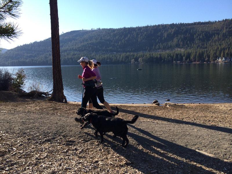 Running the crushed granite path along Donner Lake