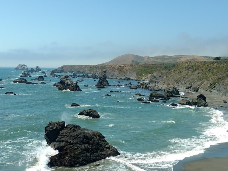 Enjoy gorgeous coastal waters looking north at Furlong Gulch Beach.