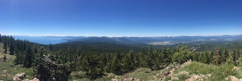 Enjoy gorgeous views of Lake Tahoe (left) and Truckee (right) from the Martis Peak Fire Lookout.
