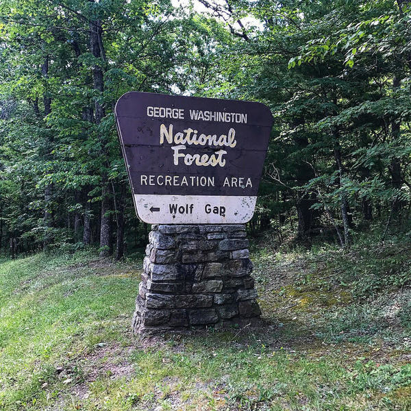 This sign for George Washington National Forest Wolf Gap Recreation Area marks the entrance.