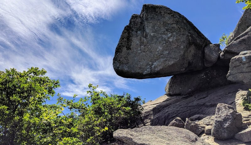 This rocky outcrop defies logic in a great section of the Old Rag rock scramble.