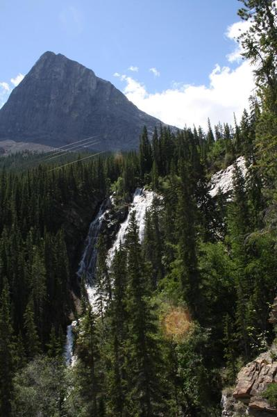 This is a view of the Grassi Lakes waterfall.