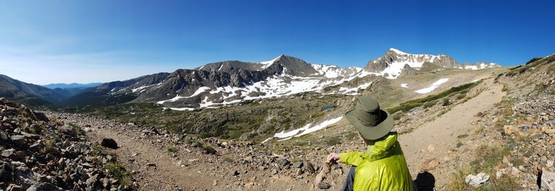 This panorama looks down to the valley/trailhead, and up toward Arapahoe Pass.