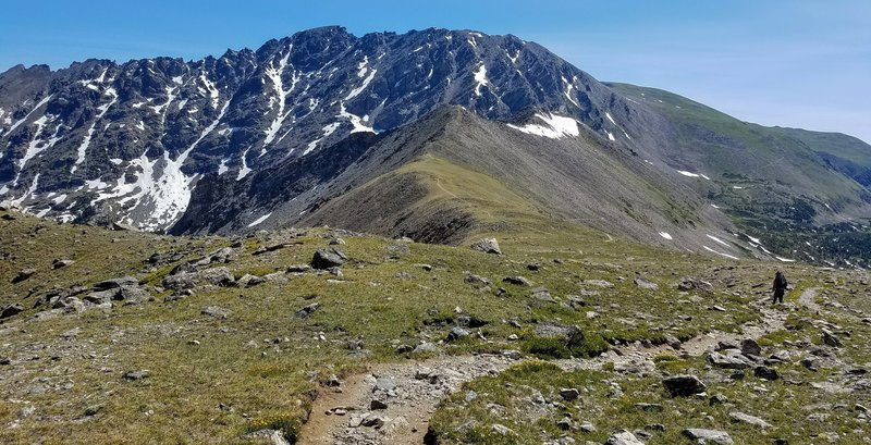 This view looks down from the trail to Lake Dorothy, toward the end of the Caribou Pass Trail/continuation of the Arapahoe Pass Trail.