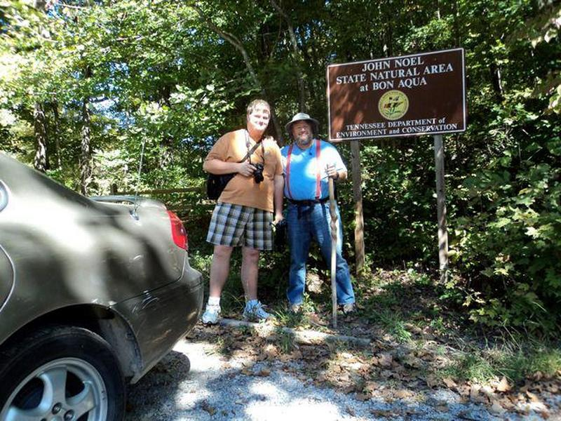 My son and I pose at the John Noel Trail parking area.