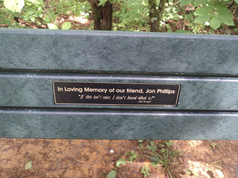 An appropriate Vonnegut quote marks a bench near one of the overlooks. This is a great spot for a lunch break!