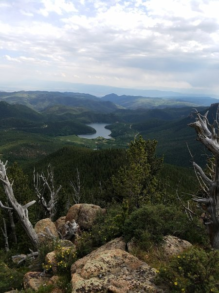 You'll receive a great view of Penrose-Rosemont Reservoir from the summit of Mount Rosa.