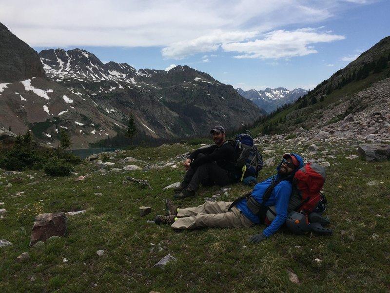 The group takes a break near Balsam Lake.