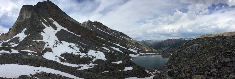 Arrow and Vestal Peaks tower above Vestal Lake.