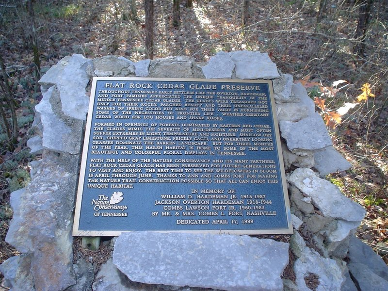 This is the memorial plaque at the trailhead of Flat Rock Barrens.