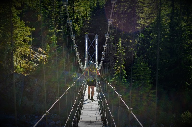 Carbon River Suspension Bridge – Wonderland Trail to Carbon Camp (from the north) is closed due to a trail washout (July 2017).
