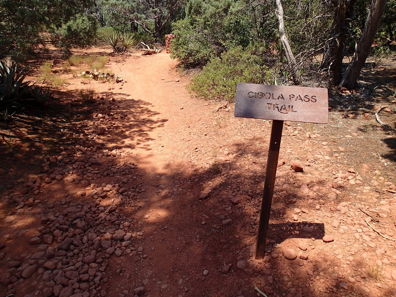 This sign marks the start of the Cibola Pass Trail.