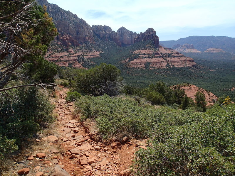 It will be hard to keep your eyes on the trail with views this good on the descent from Brins Mesa to Sedona.