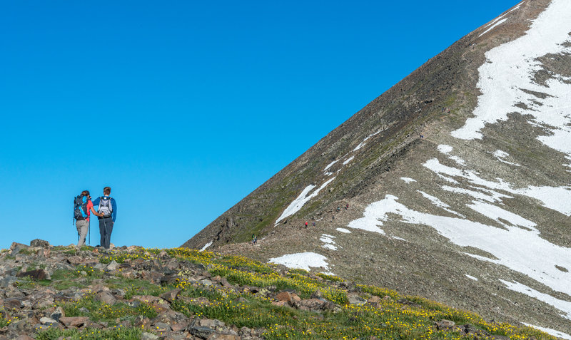 A couple takes a nice rest among the wildflowers before the final ascent to Quandary Peak.