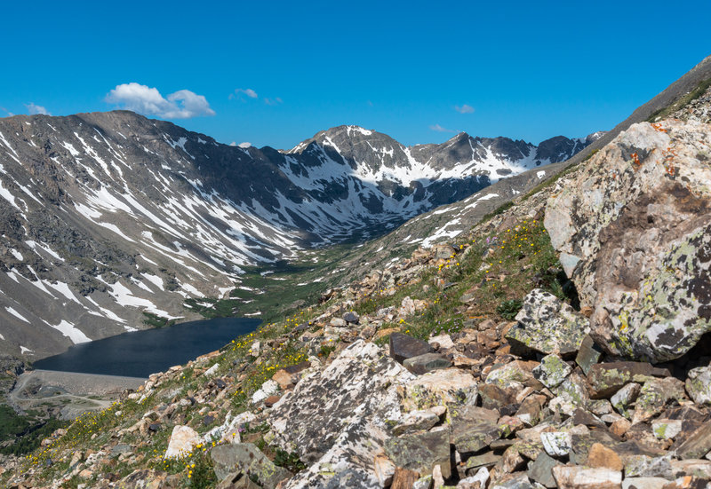 Upper Blue Lake and the spillway sit peacefully below the Continental Divide.