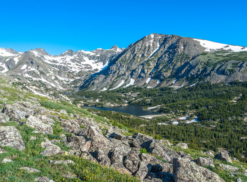 Triple Lakes sits below Arapaho Glacier, Mount Albion, and North Arapaho Peak.