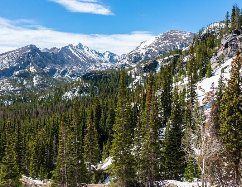 Longs Peak is beautiful from the Emerald Lake Trail.