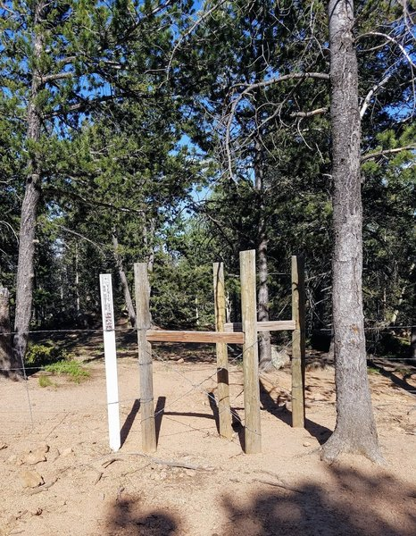 This is the St. Mary Falls Trailhead off FSR 381. The trailhead is unmarked, so look for the fenced entry.