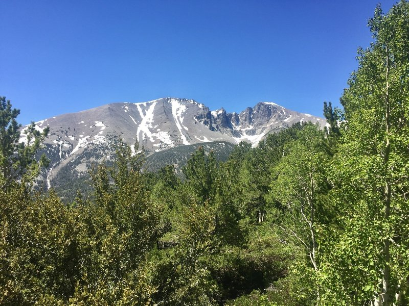 Wheeler Peak taken from vista point on Wheeler Peak Scenic Drive. Accessible. .