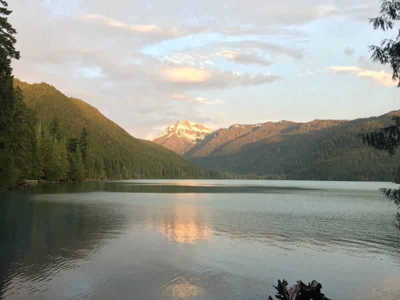 Sunset at Packwood Lake. Johnson Peak in background 6/26/17.
