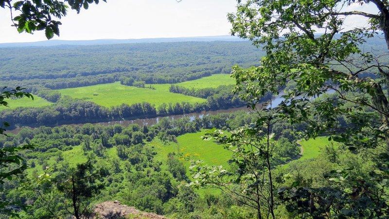 The peaceful Delaware River, meandering through farmland near Milford, PA.