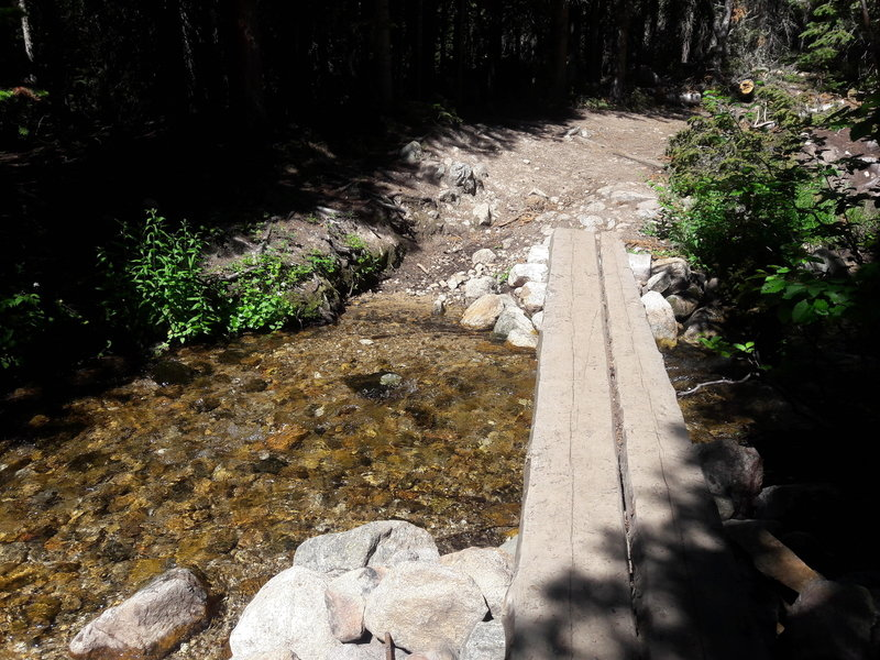 A neat bridge spans a small creek on the Red Deer Lake Trail.