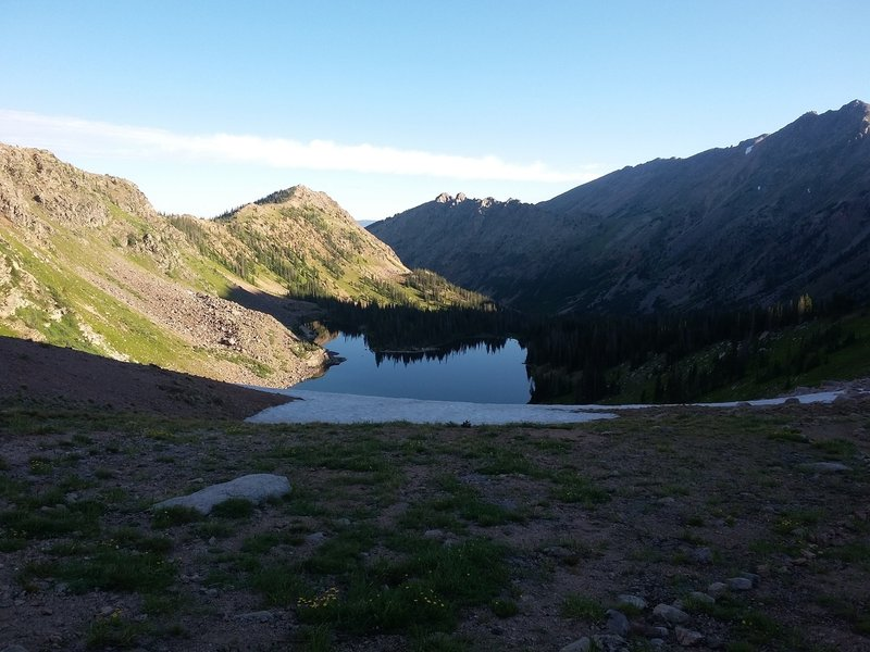 Kelly Lake from the saddle in the Hidden Valley Trail.