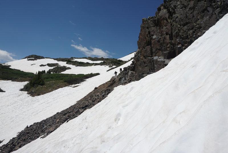 Take care when traversing snowfields.