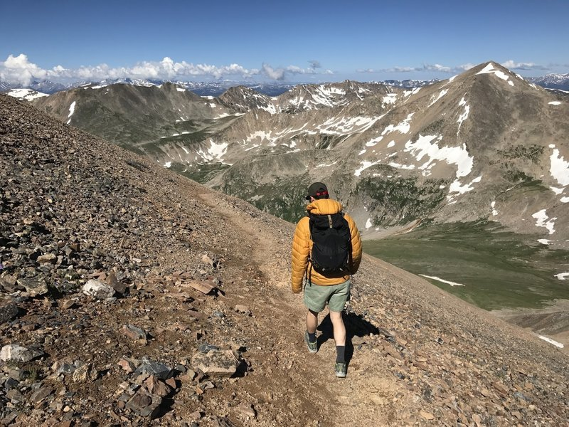Beginning the descent from Bross with a nice view of Democrat in the background. The descent is nice and firm near the top, only becoming loose granite gravel toward the bottom.