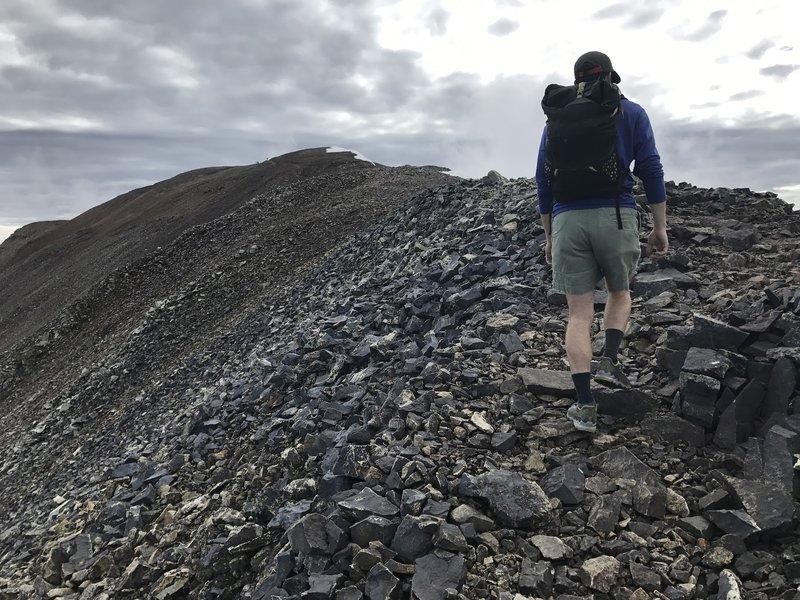 Heading up the ridge toward the summit of Cameron.