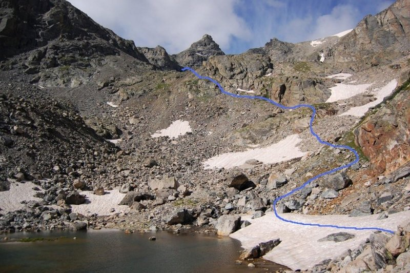 View of the route up the base of the small lake