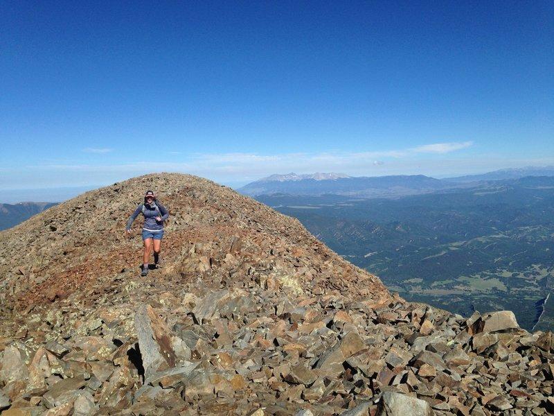 Running across the ridge.